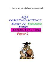 Aqua A Level Biology Essay Predictions 2017 Answer